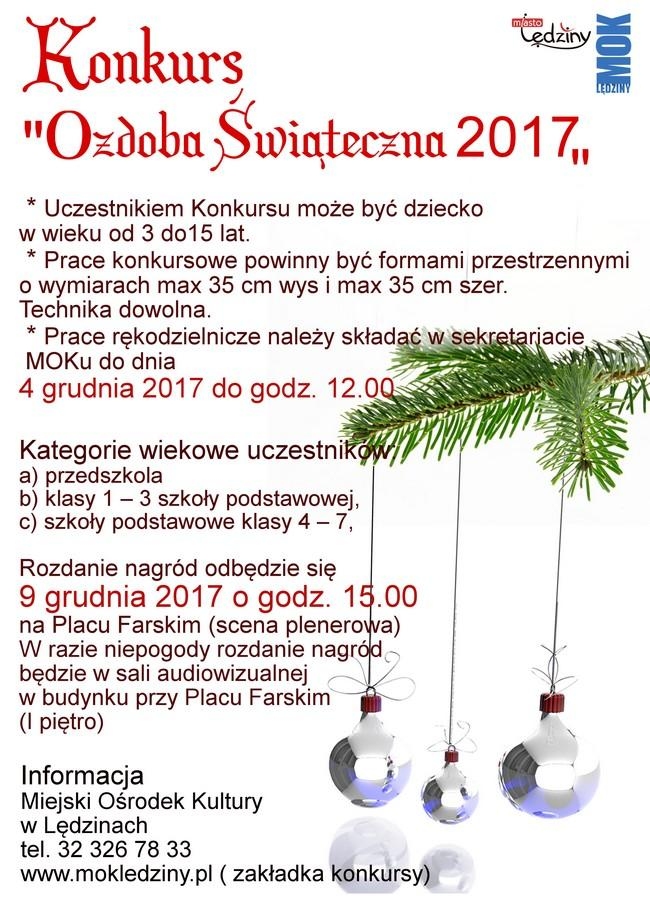 """Konkurs """"Ozdoba Świąteczna 2017"""""""