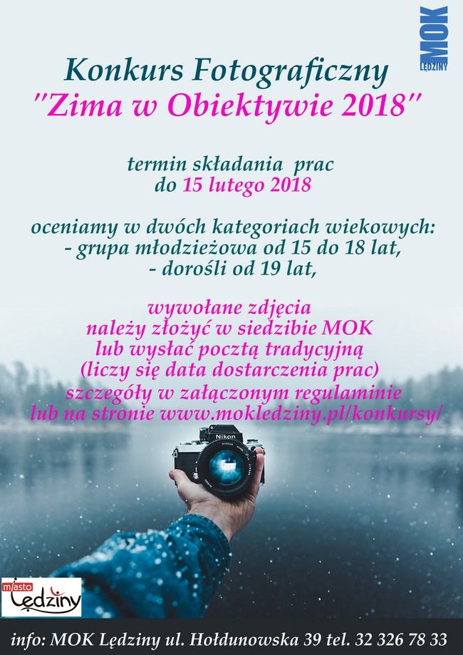"""Konkurs fotograficzny """"Zima wobiektywie 2018"""""""