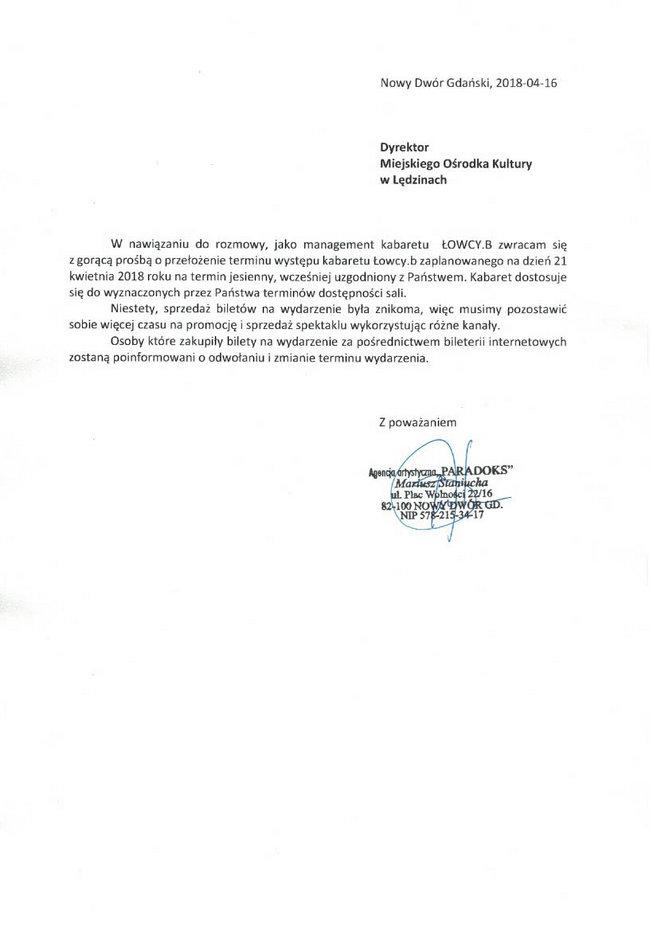 Kabaret Łowcy.b odwołany